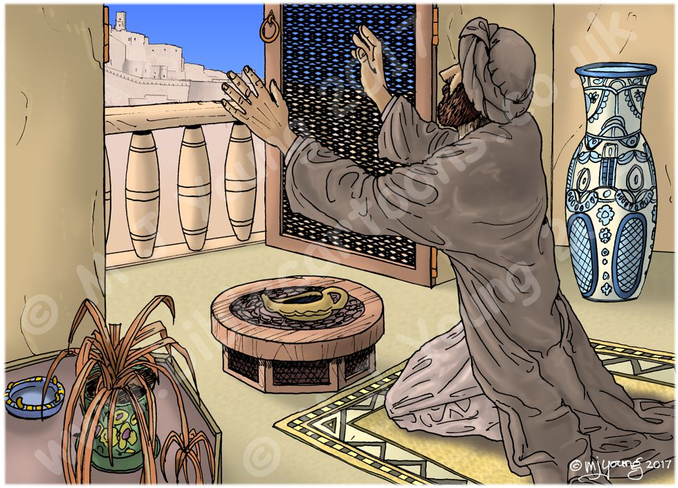 Daniel 06 - The lions' den - Scene 04 - Daniel Prays 980x706px col