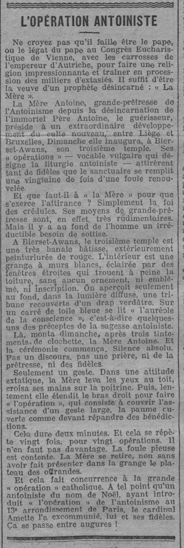 Inauguration du Temple de Bierset (La Lanterne, 3 oct 1912)