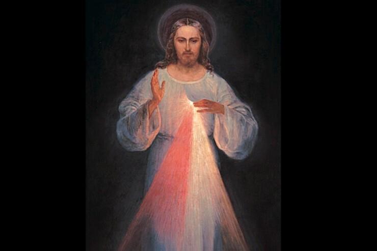 Jésus miséricordieux, tableau de Vilnius par Eugeniusz Kazimirowski, http://faustine-message.com