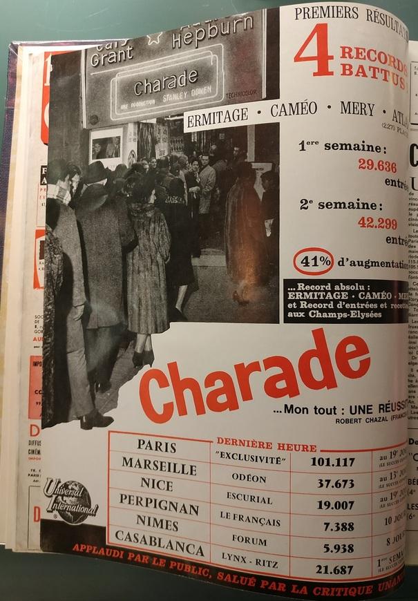 BOX OFFICE PARIS DU 01/01/1964 AU 07/01/1964