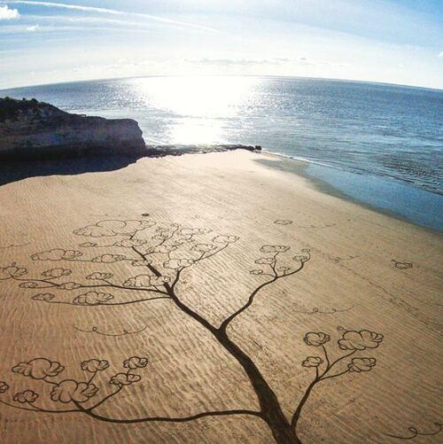 Œuvres d'art sur la plage