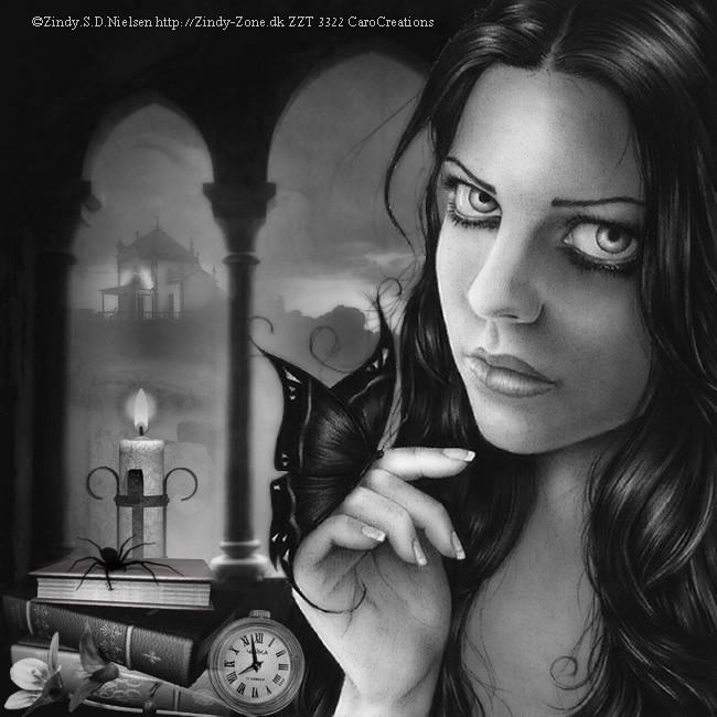 la fille et le papillon noir