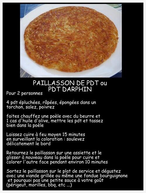 POMMES DE TERRE DARPHIN OU PAILLASSON