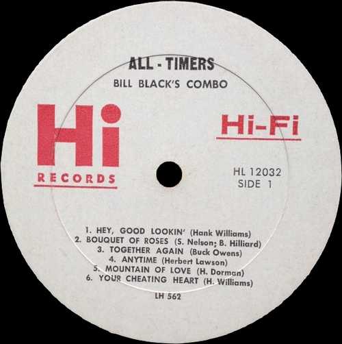 "Bill Black's Combo : Album "" Plays All-Timers "" Hi Records HL 12032 / SHL 32032 [ US ]"
