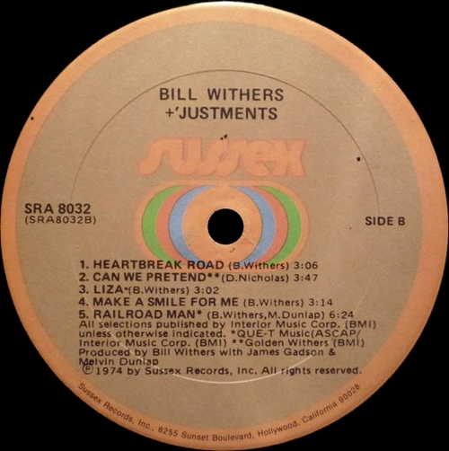 "Bill Withers : Album "" +'Justments "" Sussex Records SRA 8032 [ US ]"