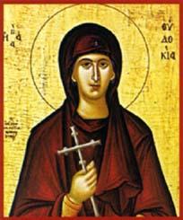 """Sainte Eudoxie ou Eudocie, Martyre à la """"vie"""" romancée († 114)"""