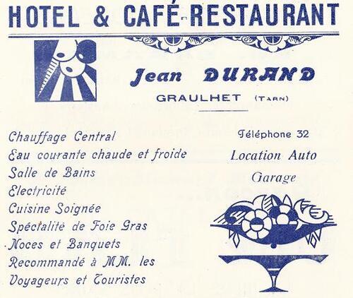 L'HOTEL DURAND - Les publicités dans le s programmes de fêtes graulhétois