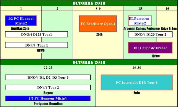 Agenda des compétitions
