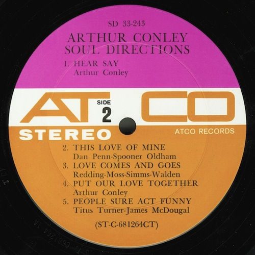 "Arthur Conley : Album "" Soul Directions "" Atco Records SD 33-243 [ US ]"