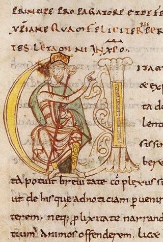 Charlemagne assis (Lettre historiée d'une édition de La Vie de Charlemagne, par Éginhard)
