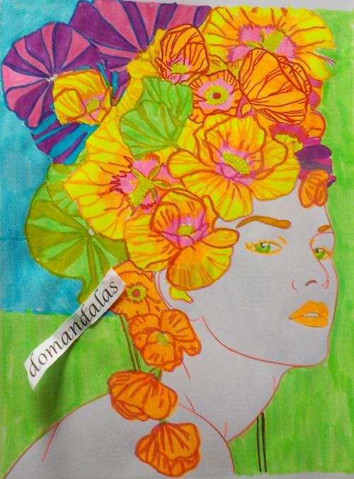 DOMANDALAS coloriage d'un visage à la chevelure fleurie 2