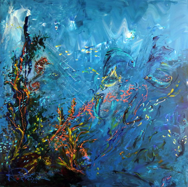 Fonds marins acrylique d 39 art en art for Peinture glycero ou acrylique