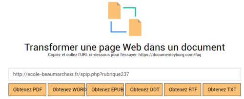 Transformer une page web en document pour la classe