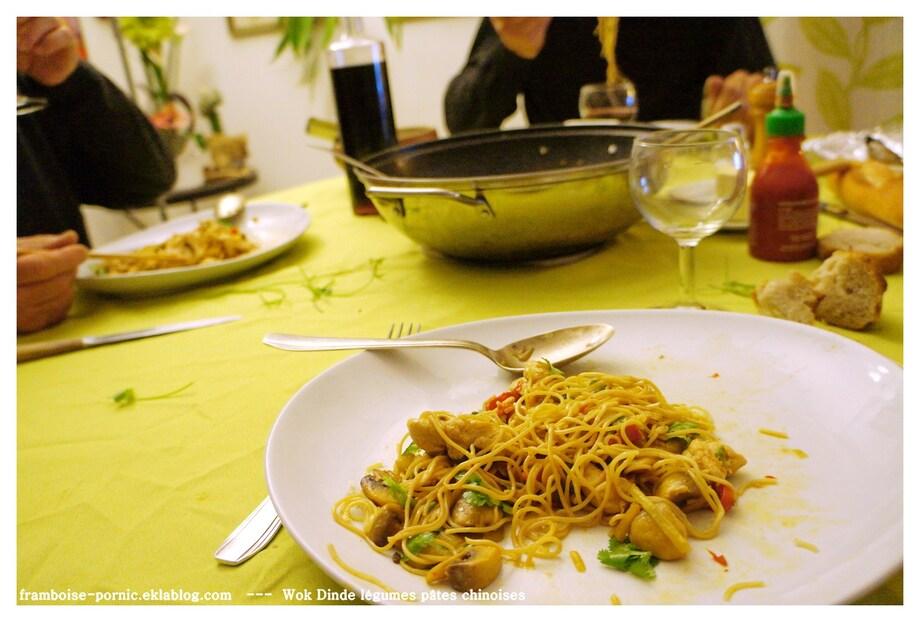 Wok Dinde aux légumes et pâtes chinoises