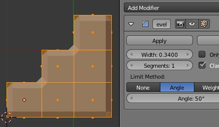 Vue 1 -Escalier et Bevel Modifier