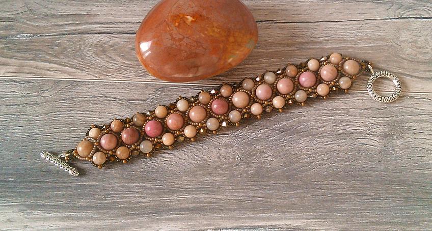 Bracelet tissé Pierre de rhodochrosite, pierre de lune rose et cristal de Swarovski, Fermoir Toggle en T Plaqué argent