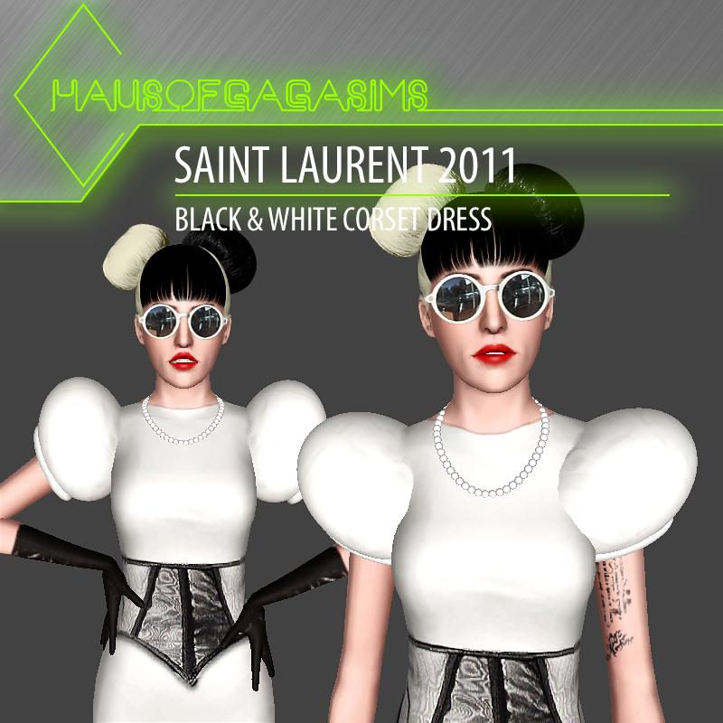 SAINT LAURENT 2011 BLACK & WHITE CORSET DRESS