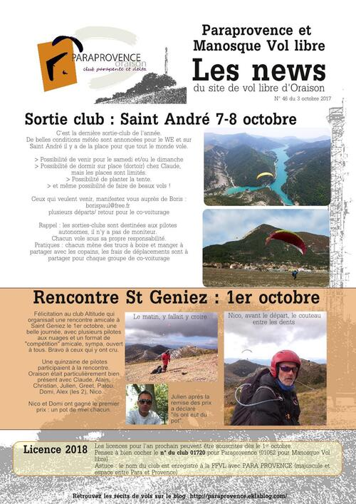 PARAPROVENCE  NEWS N° 47  -  Octobre 2017