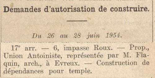 Impasse Roux (Bulletin municipal officiel de la Ville de Paris 1 juil 1954)