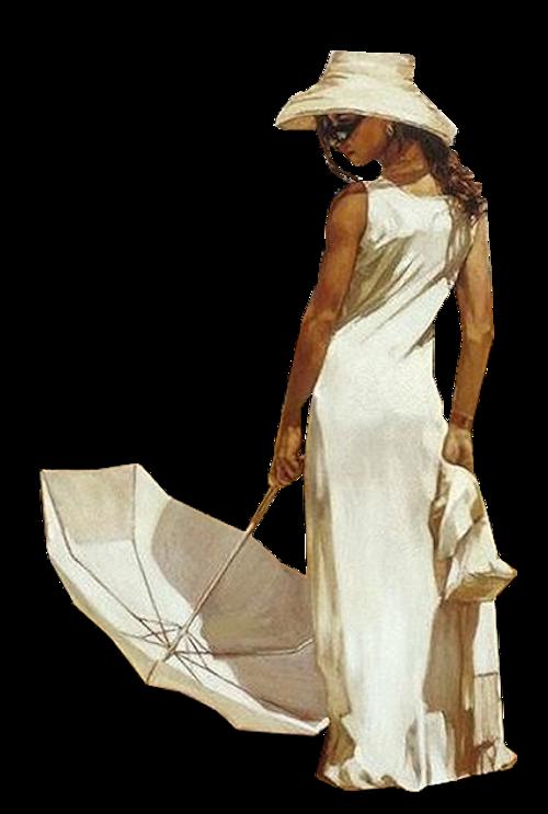 Femme avec parapmuie ou ombrelle 1