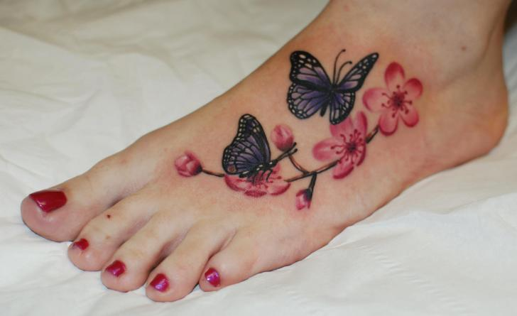 butterfly-​n-flower-t​attoo-on-f​oot
