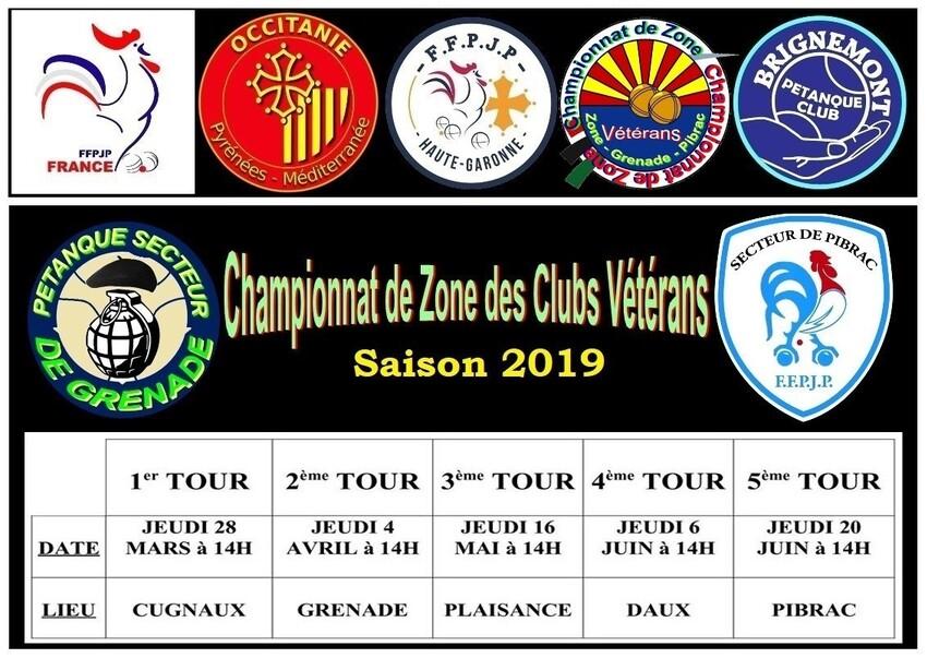 Dates et lieux des rencontres du C.Z.C Vétérans 2019