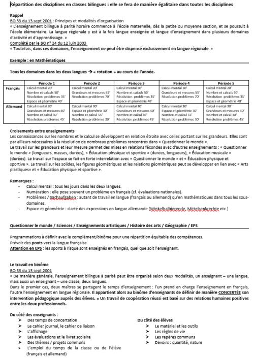 Répartition horaire en bilingue