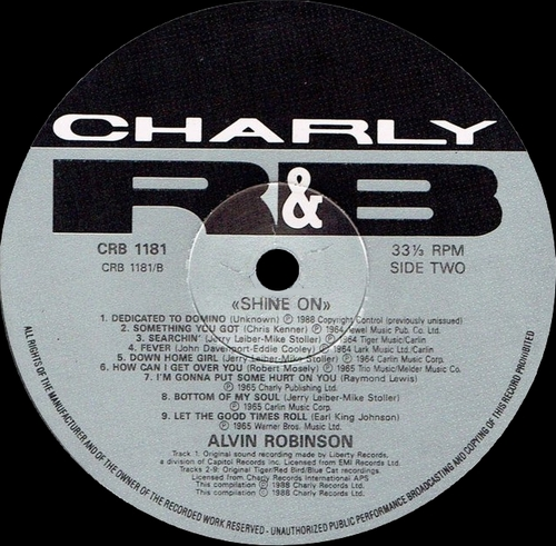 "Alvin Robinson : CD "" Shine On "" Charly R&B Records CRB 1181 [ UK ]"