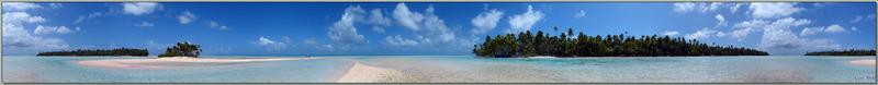 "Panorama 360°, interactif et musical, sur les ""Motu au sable rose"" - Sud de Fakarava (Tetamanu) - Tuamotu - Polynésie française"