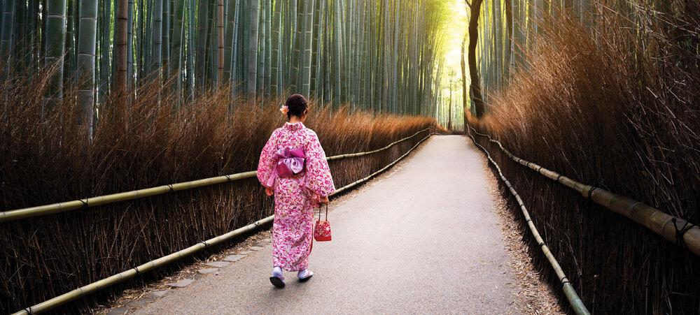 (La bambouseraie d'Arashiyama au Nord-Ouest de Kyoto)