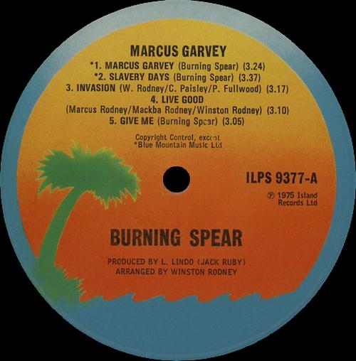 """Burning Spear : Album """" Marcus Garvey """" Island Records ILPS 9377 [ UK ]"""