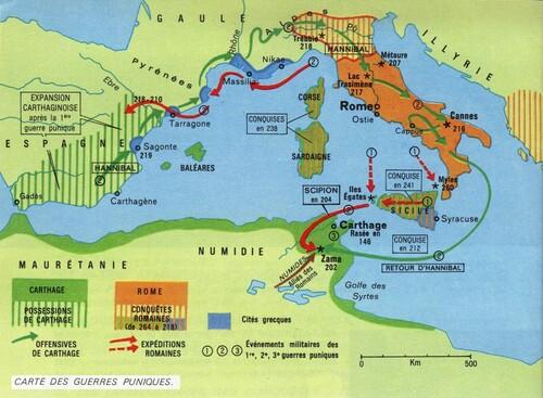 carte des guerres puniques