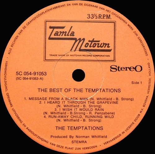 "The Temptations : Album "" The Best Of The Temptations "" Tamla Morown Records 5C 054-91053 [ NL ]"
