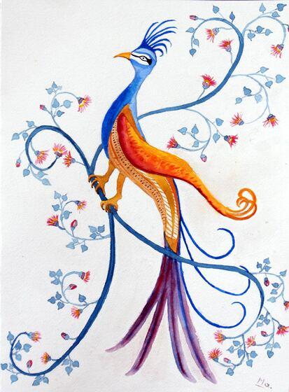 oiseau, miniature persanne, aquarelle