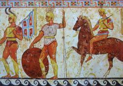 Soldats samnites, frise, Paestum en Lucanie, IVe siècle av. J.-C.