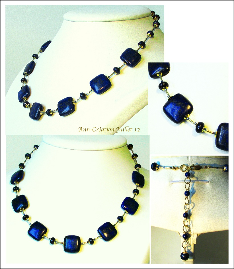 Collier Pierre de Lapis Lazuli / Plaqué Or Gold filled