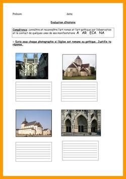évaluation art roman et art gothique