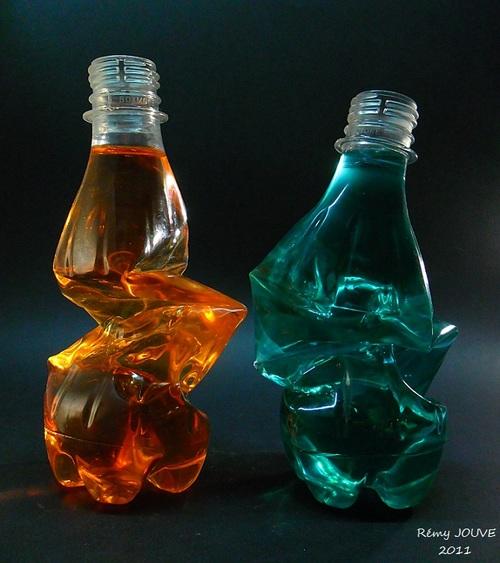 -bouteilles plastiques pliées-
