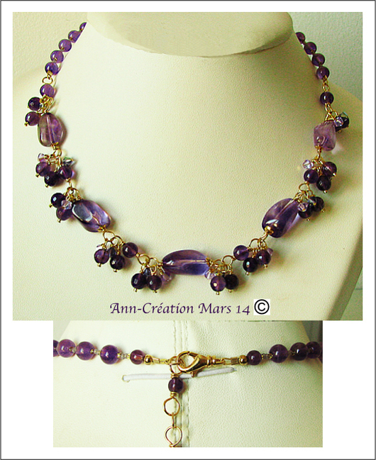 Collier Grappe pierres d'Améthyste / Laiton doré - Amethyst necklace / Gold Brass