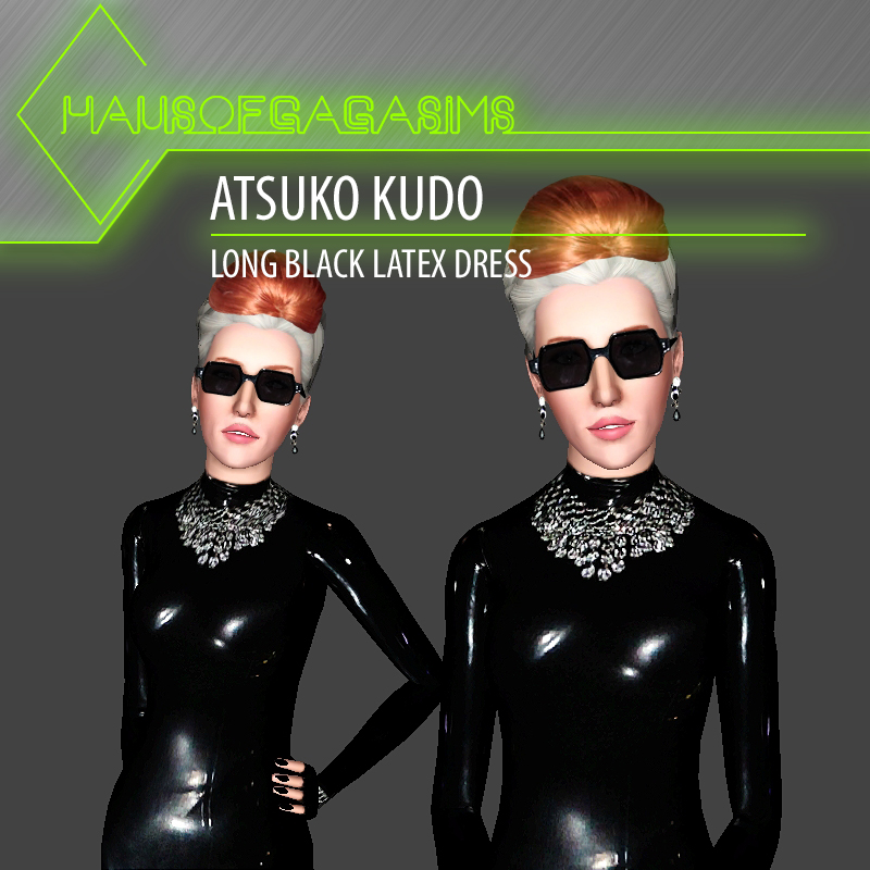 ATSUKO KUDO LONG BLACK LATEX DRESS
