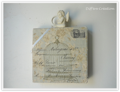 Cadre shabby Cage & Ecritures anciennes
