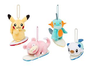 Porte clé peluche Pikachu, Ramoloss, Flobio et Moustillon surf
