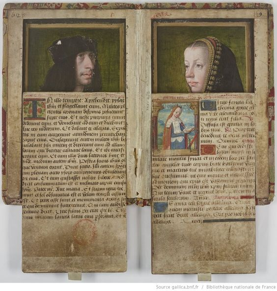 Gallica:  Attention, merveille ! Ce manuscrit de la fin du XVe siècle possède une reliure étonnante : dans son épaisseur et dissimulés par des couvercles à glissière se trouvent deux portraits peints sur bois du du roi Charles VIII et d'Anne de Bretagne...  Attention, wonder! This manuscript of the end of the fifteenth century has an amazing bookbinding: in its thickness and concealed by covers to slider are two portraits painted on wood of the King Charles viii and Anne of Brittany...  · Hi...