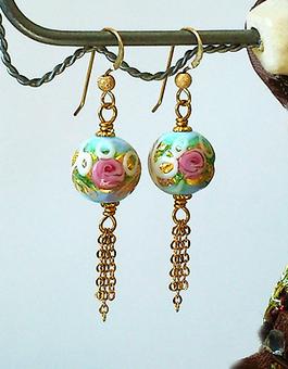 """Boucles Verre de Murano authentique Perles """"Wedding Cake"""" bleu ciel fleurs roses / Plaqué Or Gold Filled"""