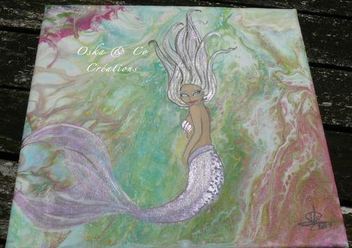 Tableau d'une sirène dans l'océan
