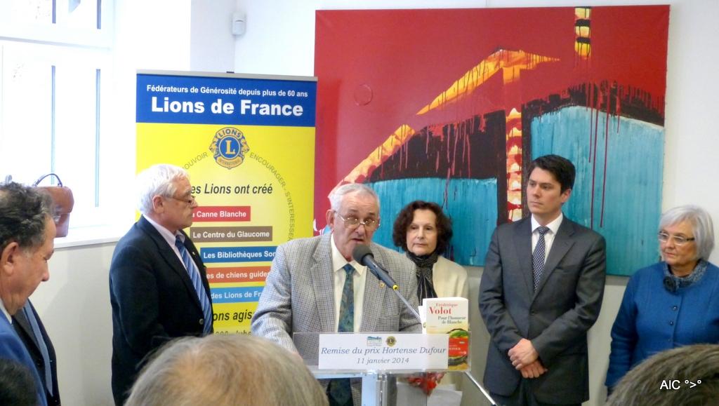Remise du prix Hortense Dufour - Discours d'Alain Betfort, président du Lions Club de Marennes