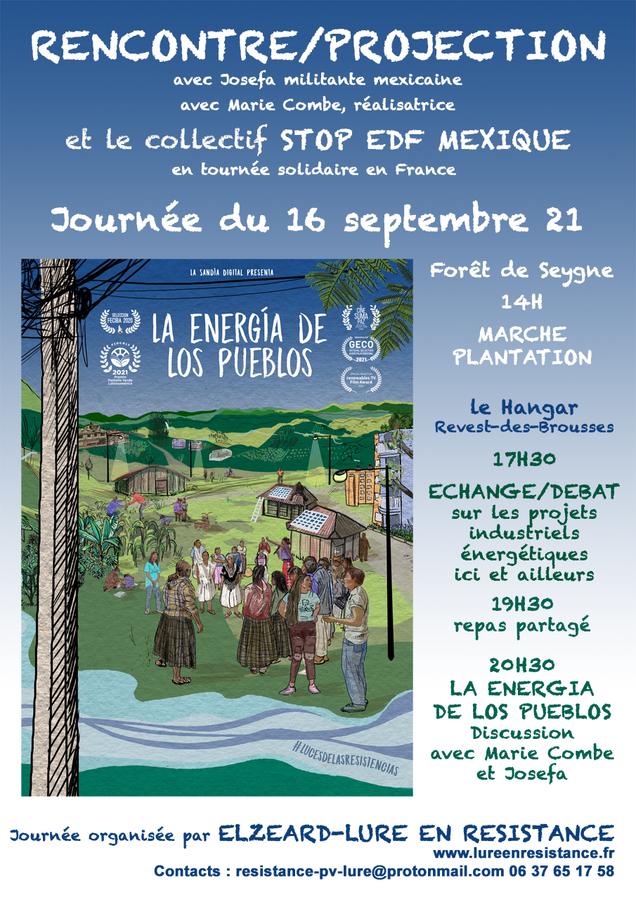 """*[elzeard] Rencontre projection """"Stop EDF Mexique"""", 16 septembre"""