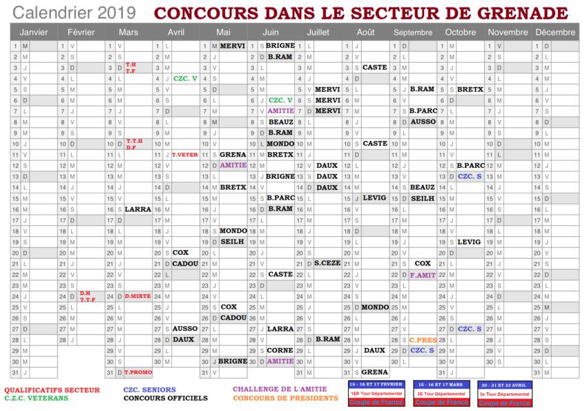 Calendrier secteur 2019