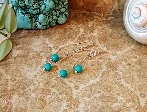 Boucles pierre de turquoise et cornaline