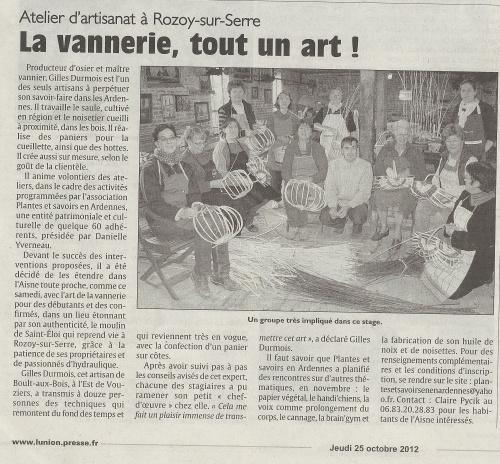 Nouveau: atelier Vannerie à Rozoy-sur-Serre